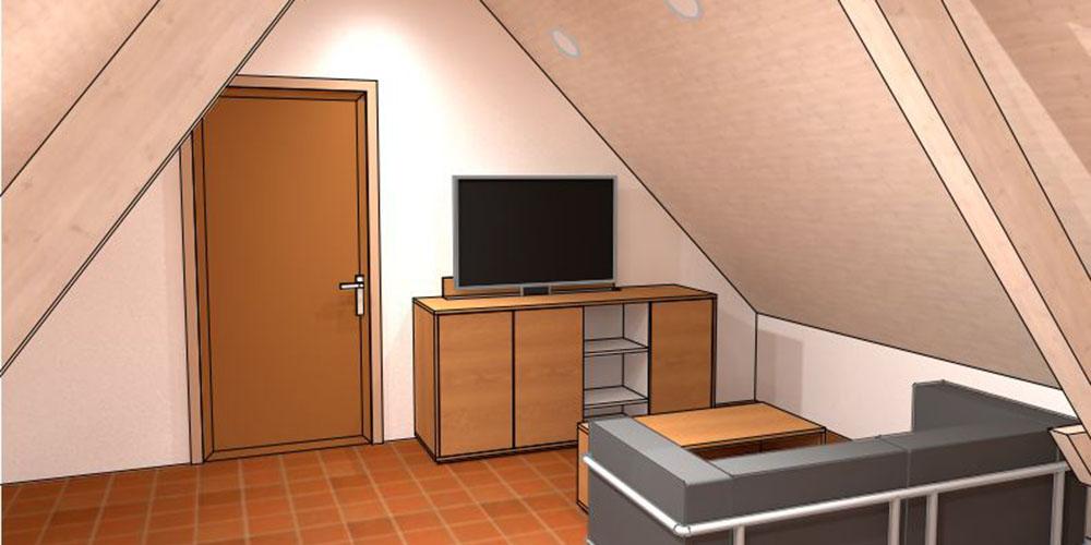 raumwunder | Umgestaltung Dachzimmer mit TV Möbel | TV-Möbel
