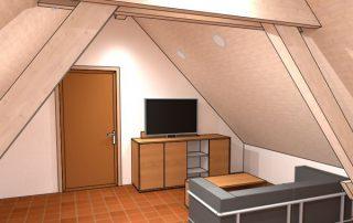 raumwunder   Umgestaltung Dachzimmer mit TV Möbel   Pläne