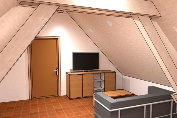 raumwunder | Umgestaltung Dachzimmer mit TV Möbel | Pläne